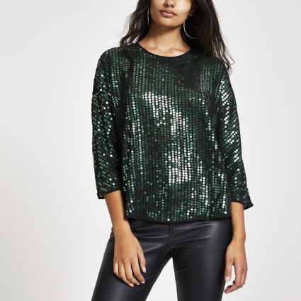 Green sequin embellished top