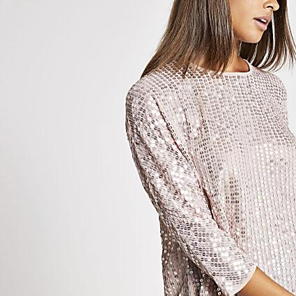 Light pink sequin embellished top
