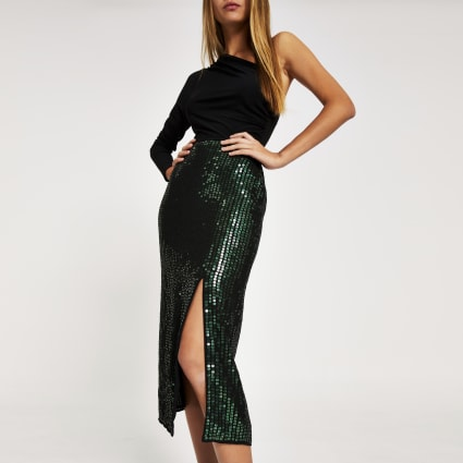 Green sequin embellished midi skirt