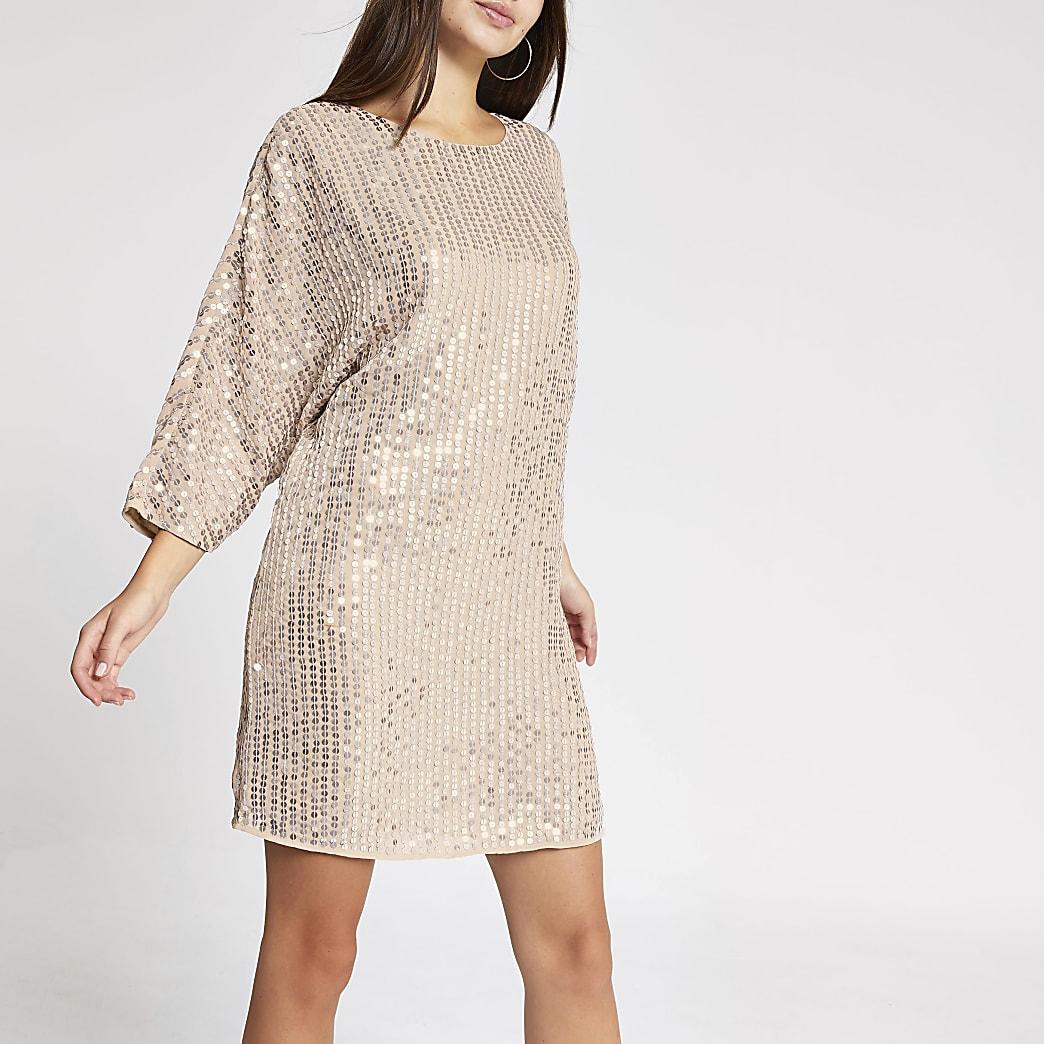 Light pink sequin embellished shift dress