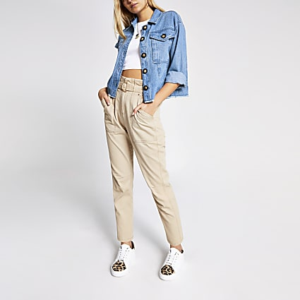 Blue denim button cropped shacket