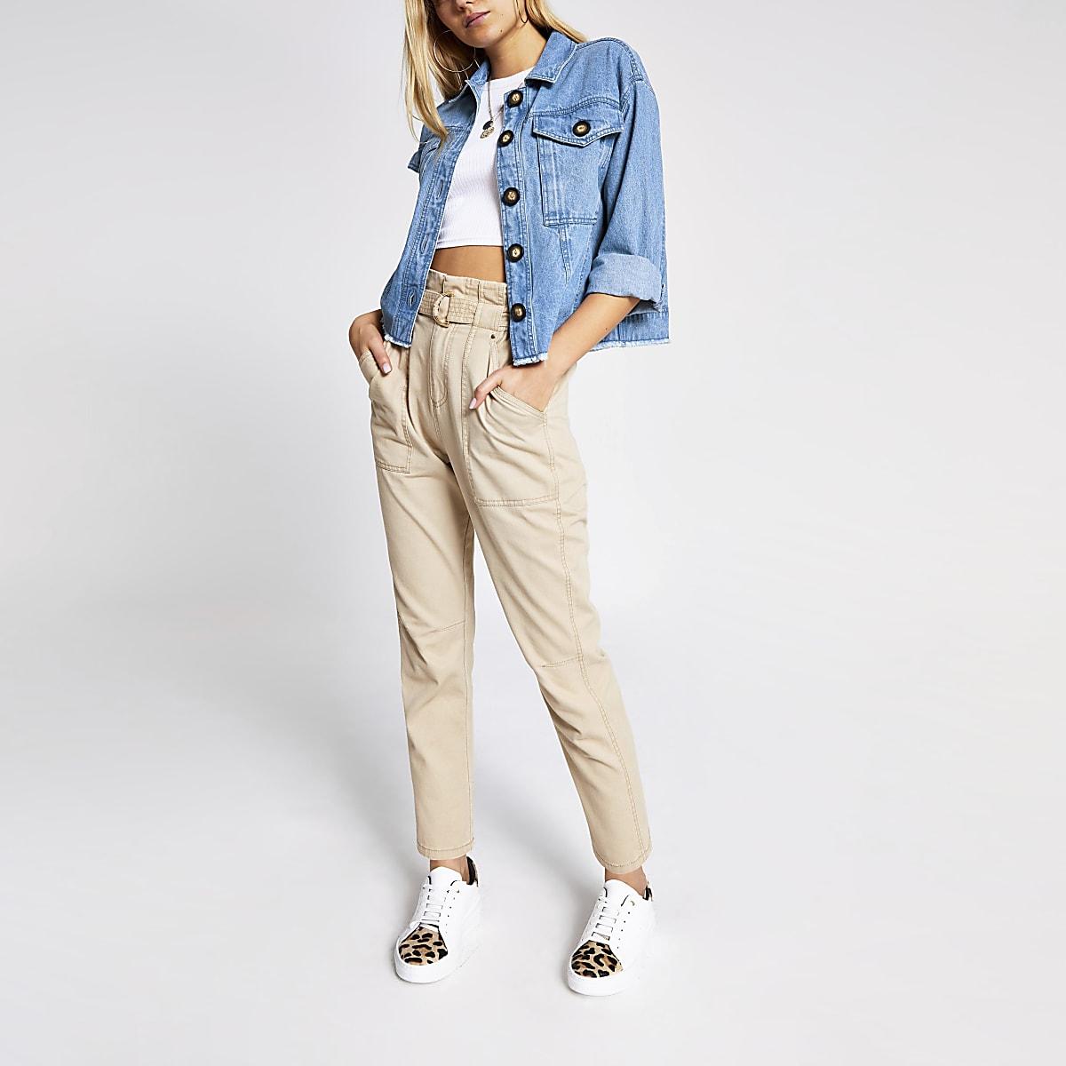Veste-chemise courte boutonnée en jean bleu