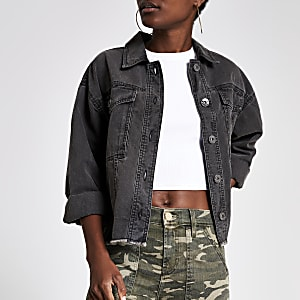 Grey denim cropped shacket
