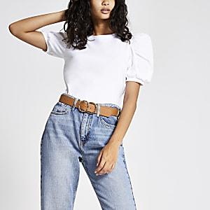 T-shirt blanc à manches courtes bouffantes