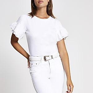White broderie flute sleeve frill T-shirt