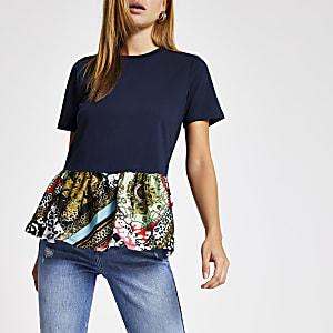 Marineblauw T-shirt met print en peplum