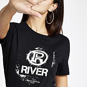 Schwarzes, enges T-Shirt mit RI-Graffiti-Print