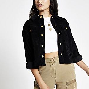 Schwarze, bauchfreie Shacket-Jacke aus Cord mit langen Ärmeln