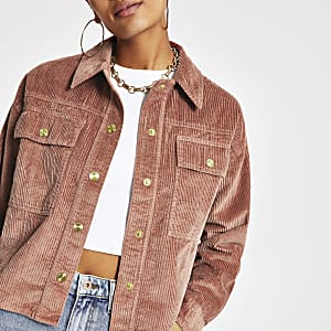 Veste-chemise courte rose avec cordon