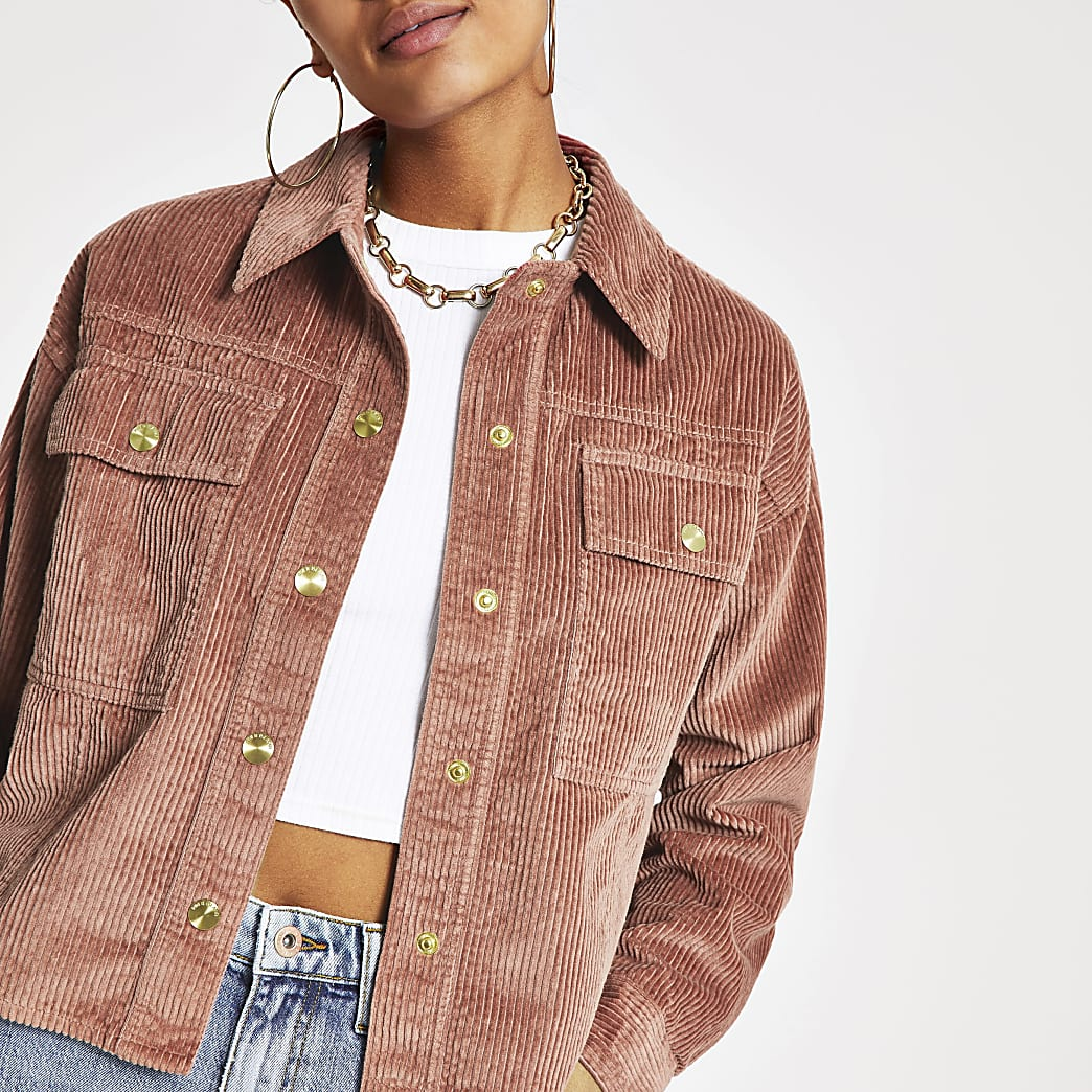 Pink cord cropped shacket