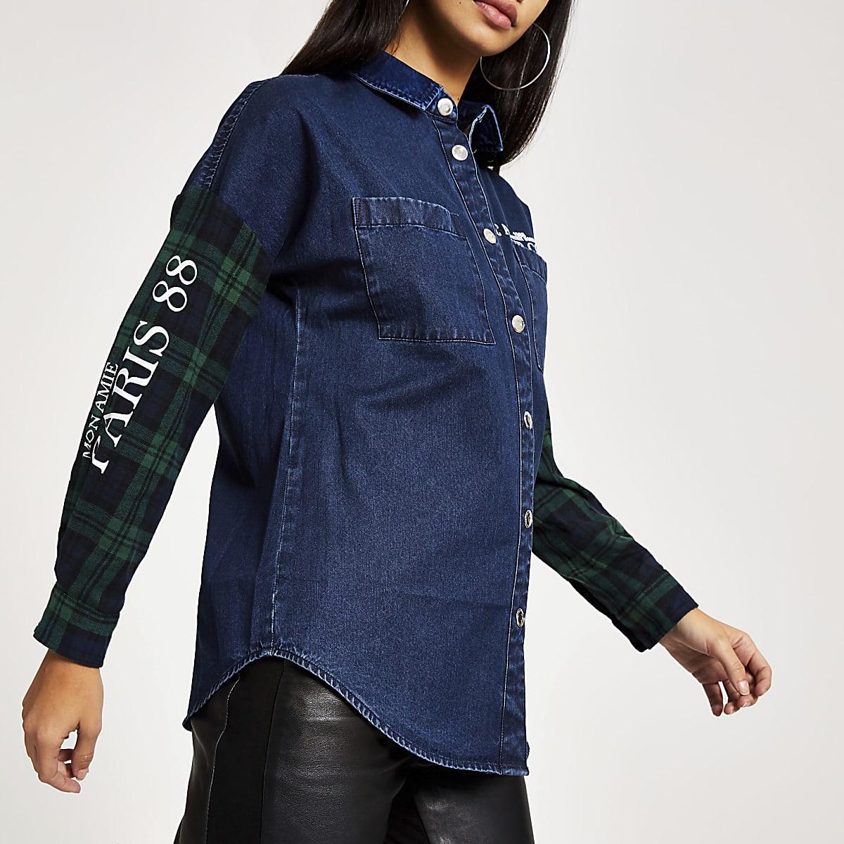 Green check denim boyfriend jacket