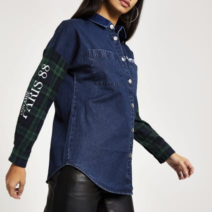 Green check denim boyfriend overshirt