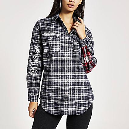 Navy check embellished boyfriend jacket