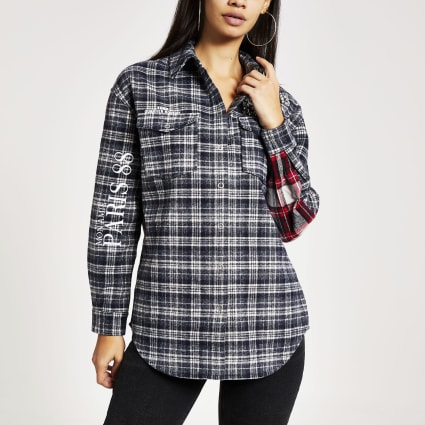 Navy check embellished boyfriend overshirt