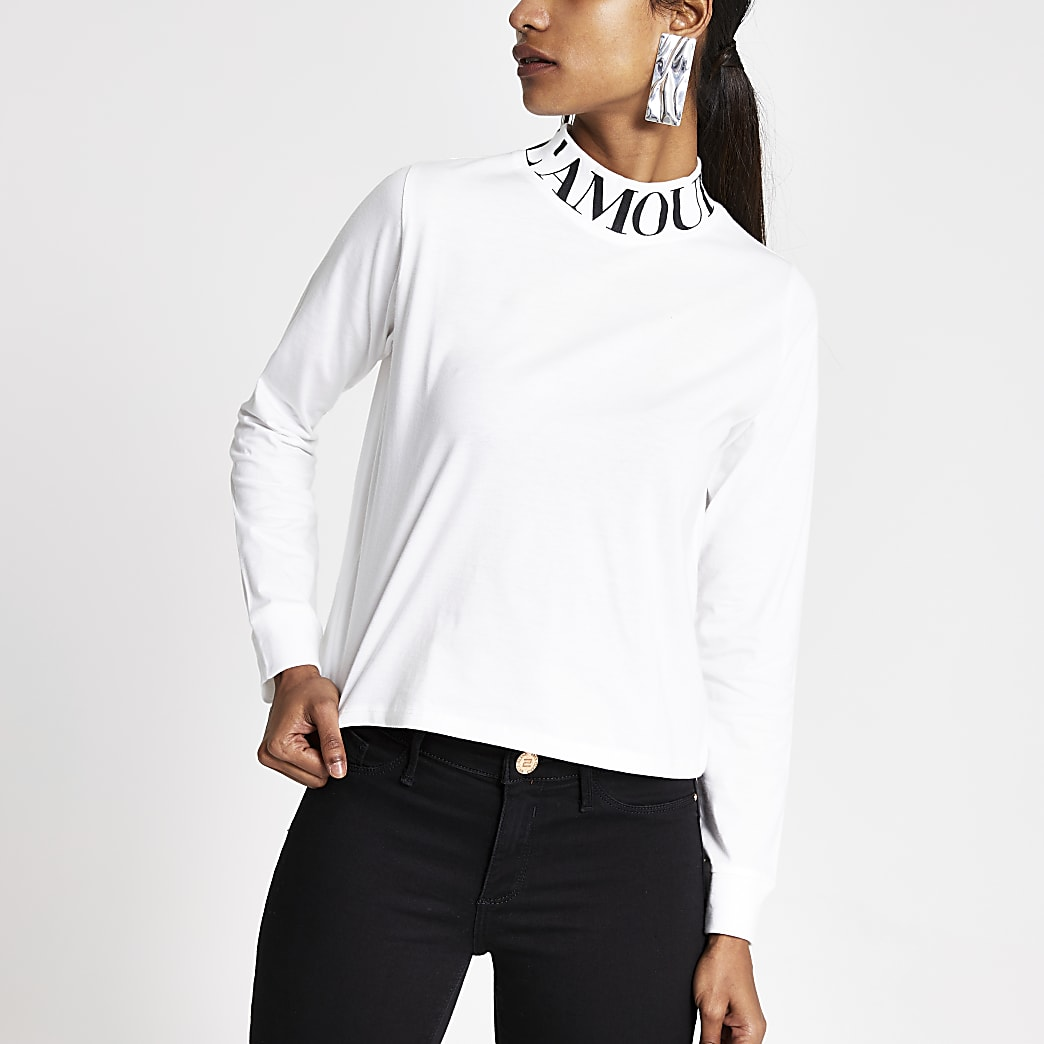 Petite white print high neck long sleeve top