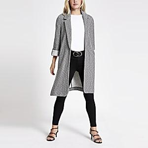 Petite – Veste longue noire en jersey texturé