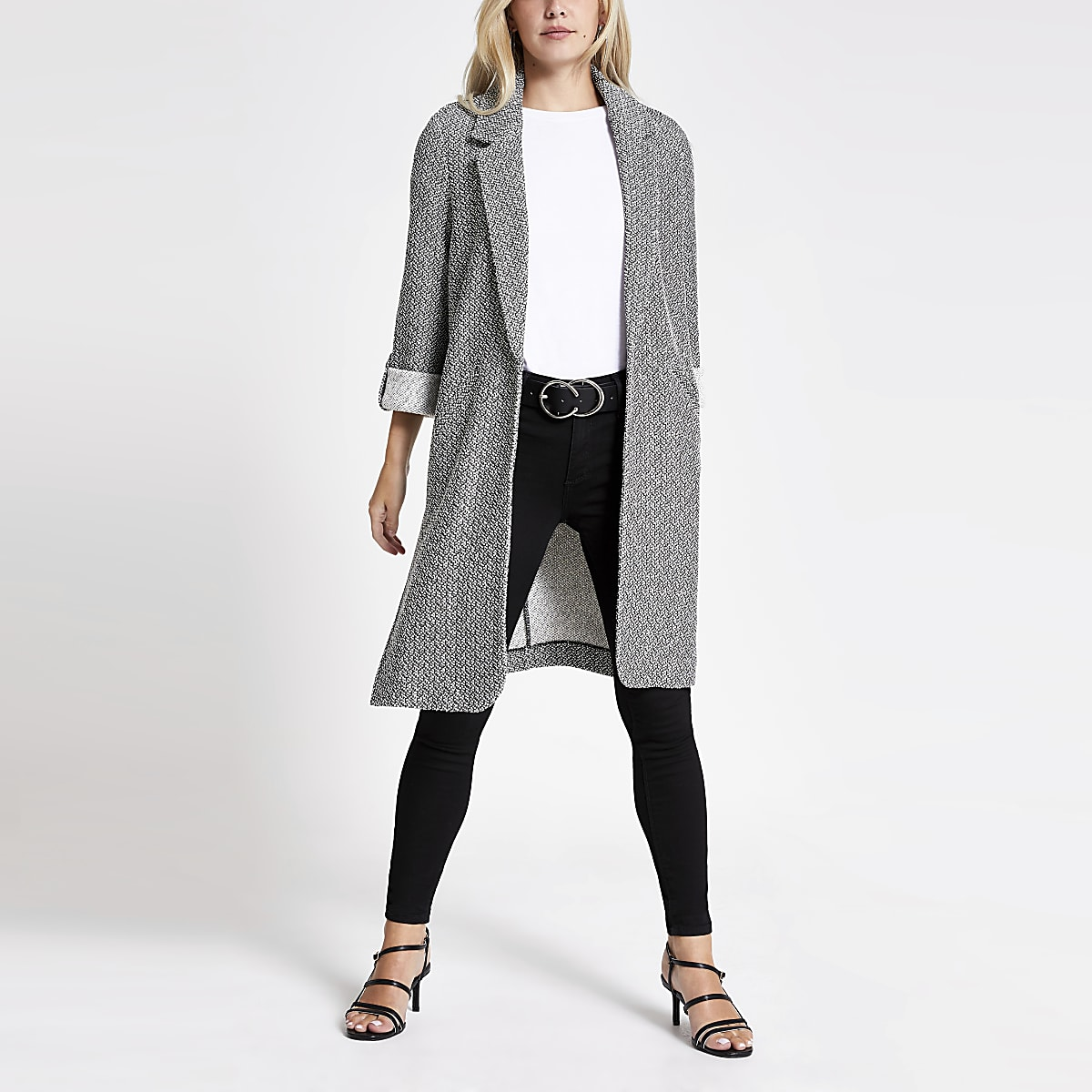 Petite black textured jersey duster jacket