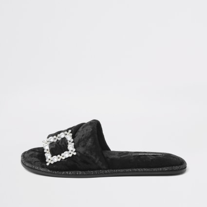 Black velvet diamante brooch slipper