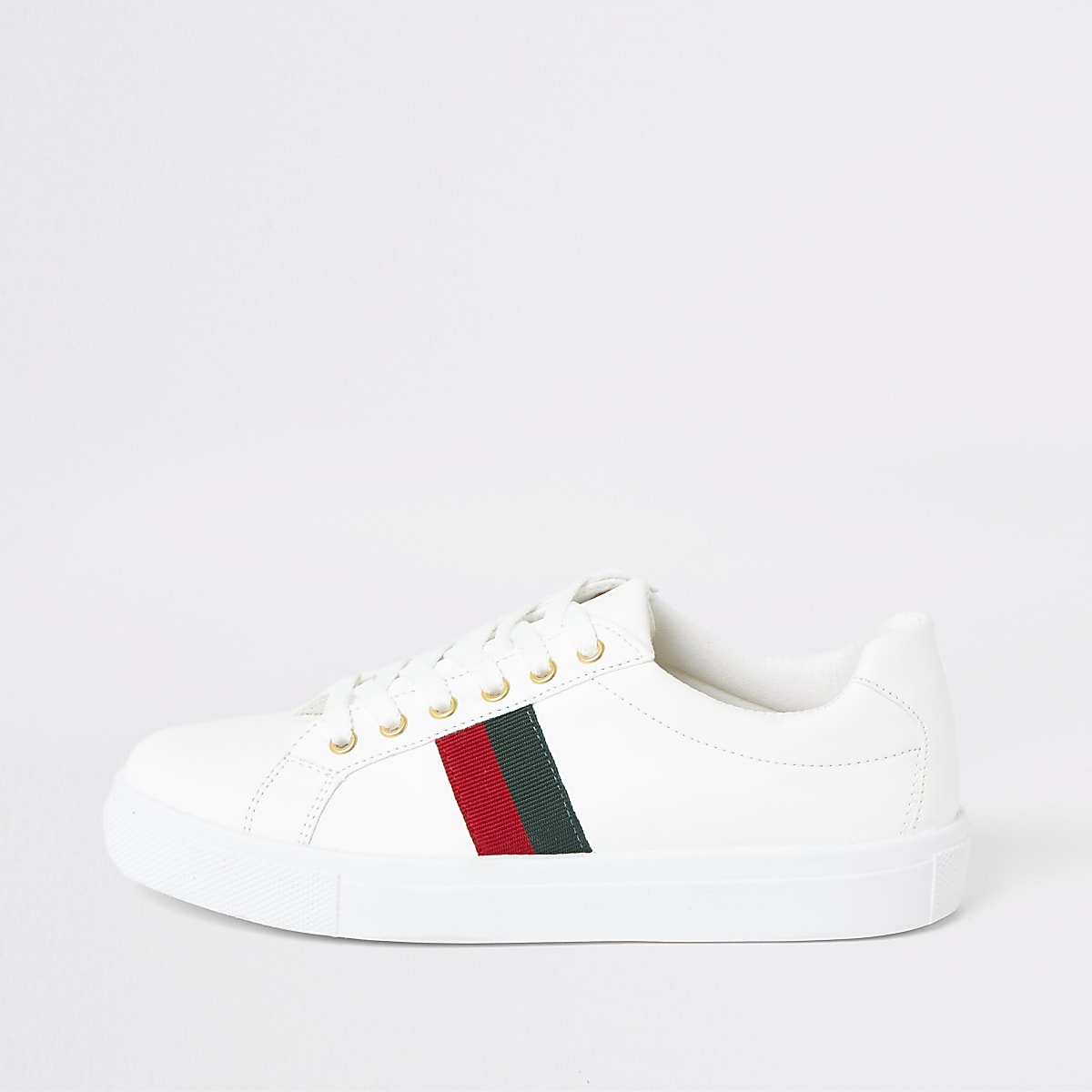 White tape lace-up sneakers