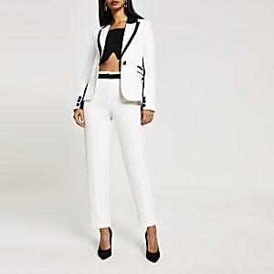 Pantalons blancs colourblock