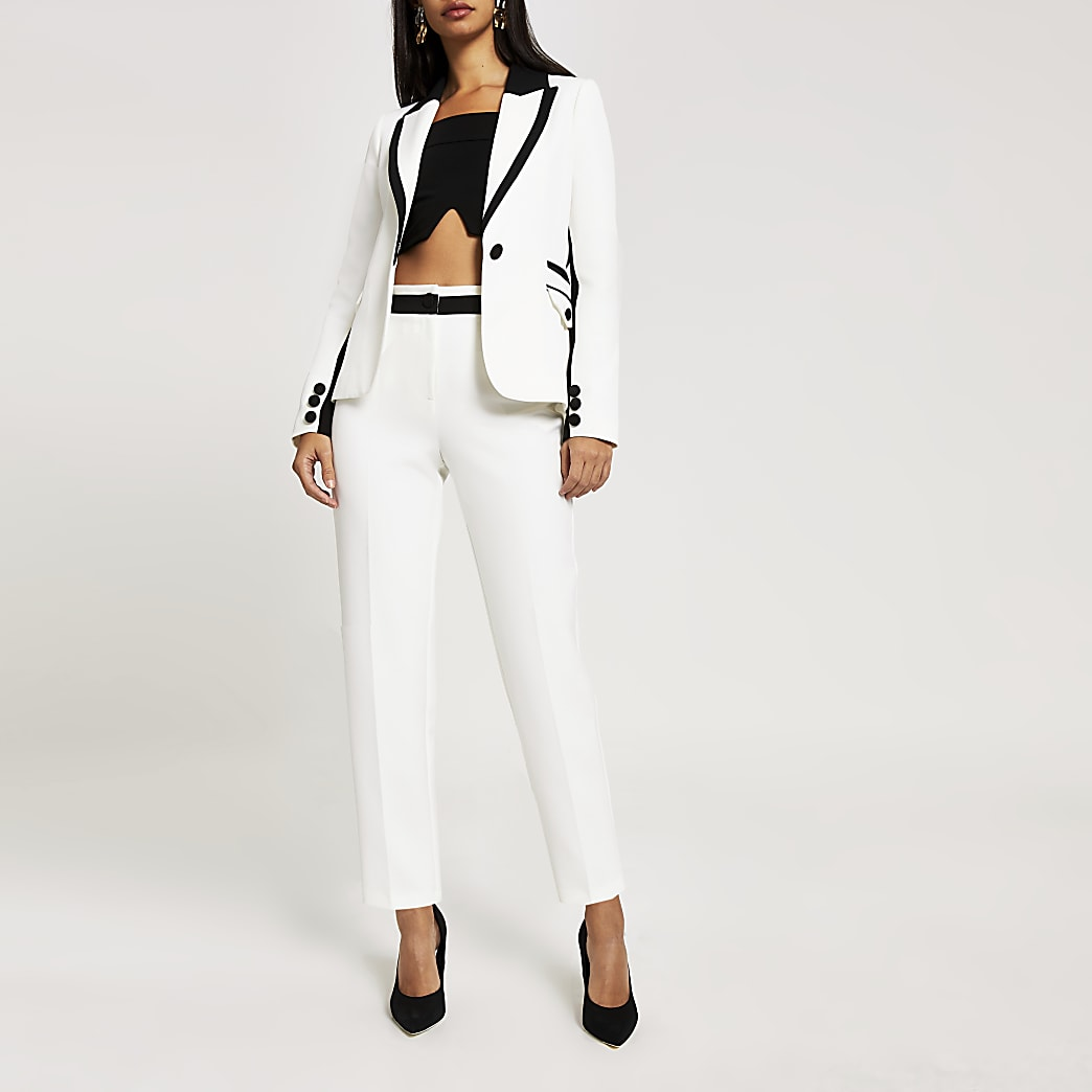 White colour blocked trousers