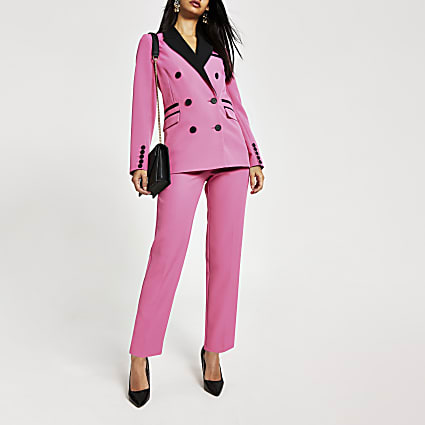 Pink colour blocked tapered trousers