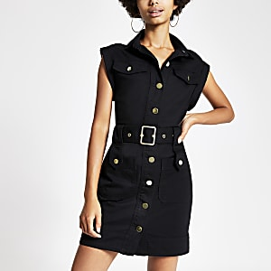 Black belted utility denim dress