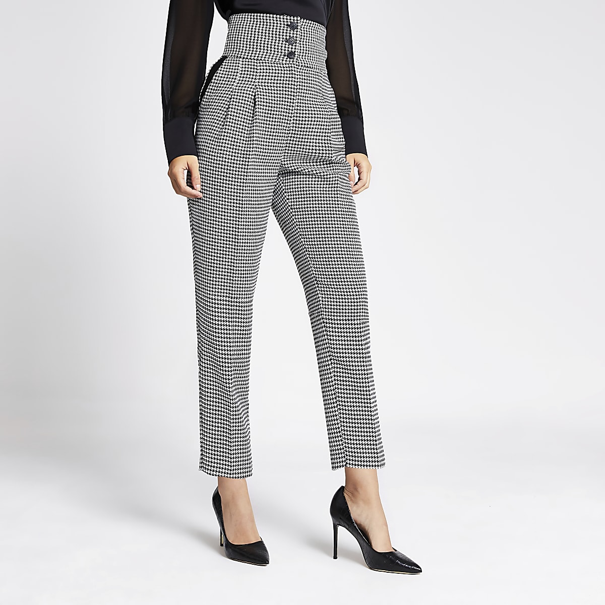 Black check high waist trousers