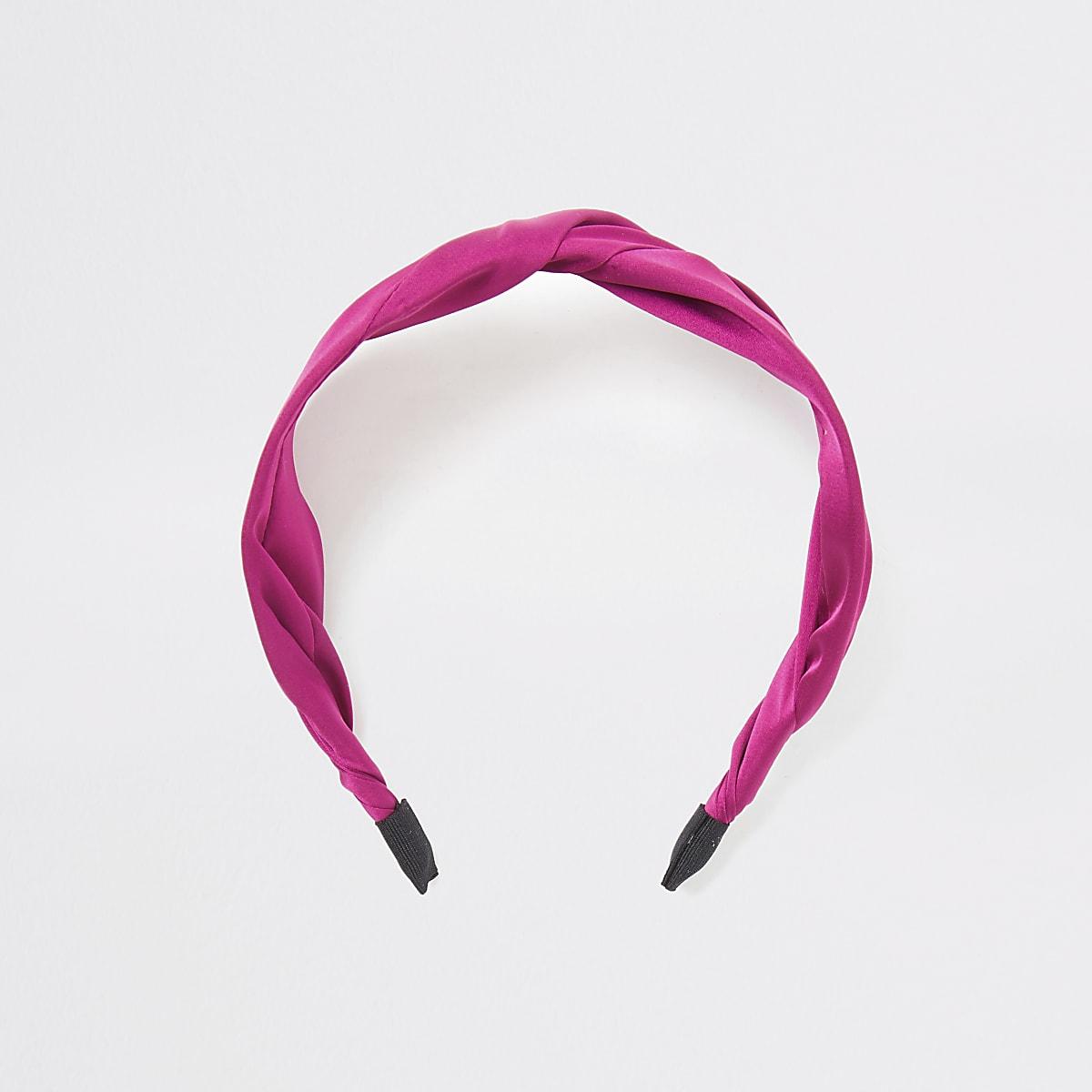 Pink satin twist headband