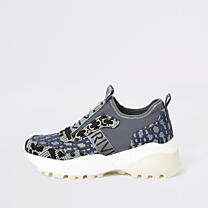 Grijze stevige slip-on sneakers met RI-monogram