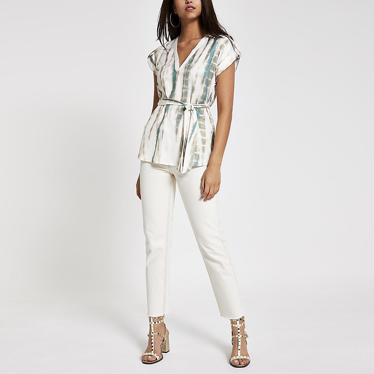Cream tie dye blouse