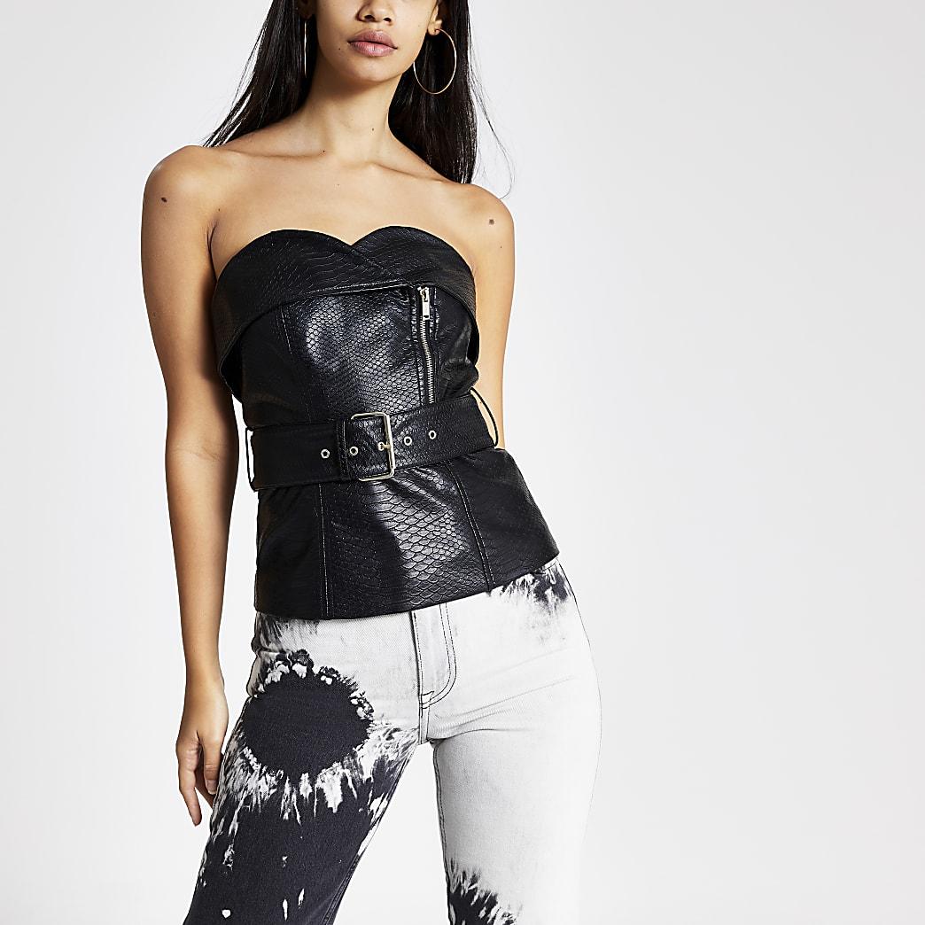 Schwarzes, strukturiertes Bardot-Oberteil mit Taillengürtel und Reißverschluss
