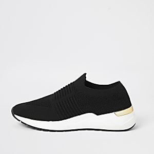 Black knitted wedge sole runner trainers