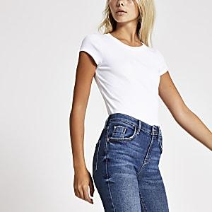 Geripptes T-Shirt mit Rundhalsausschnitt in Weiß