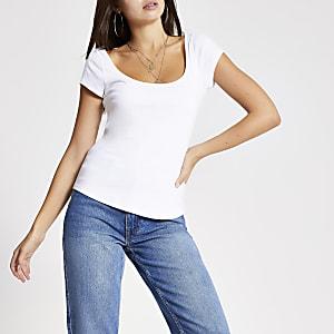 Wit T-shirt met lage hals