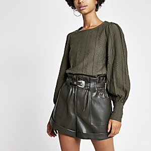 Khaki broderie puff sleeve blouse