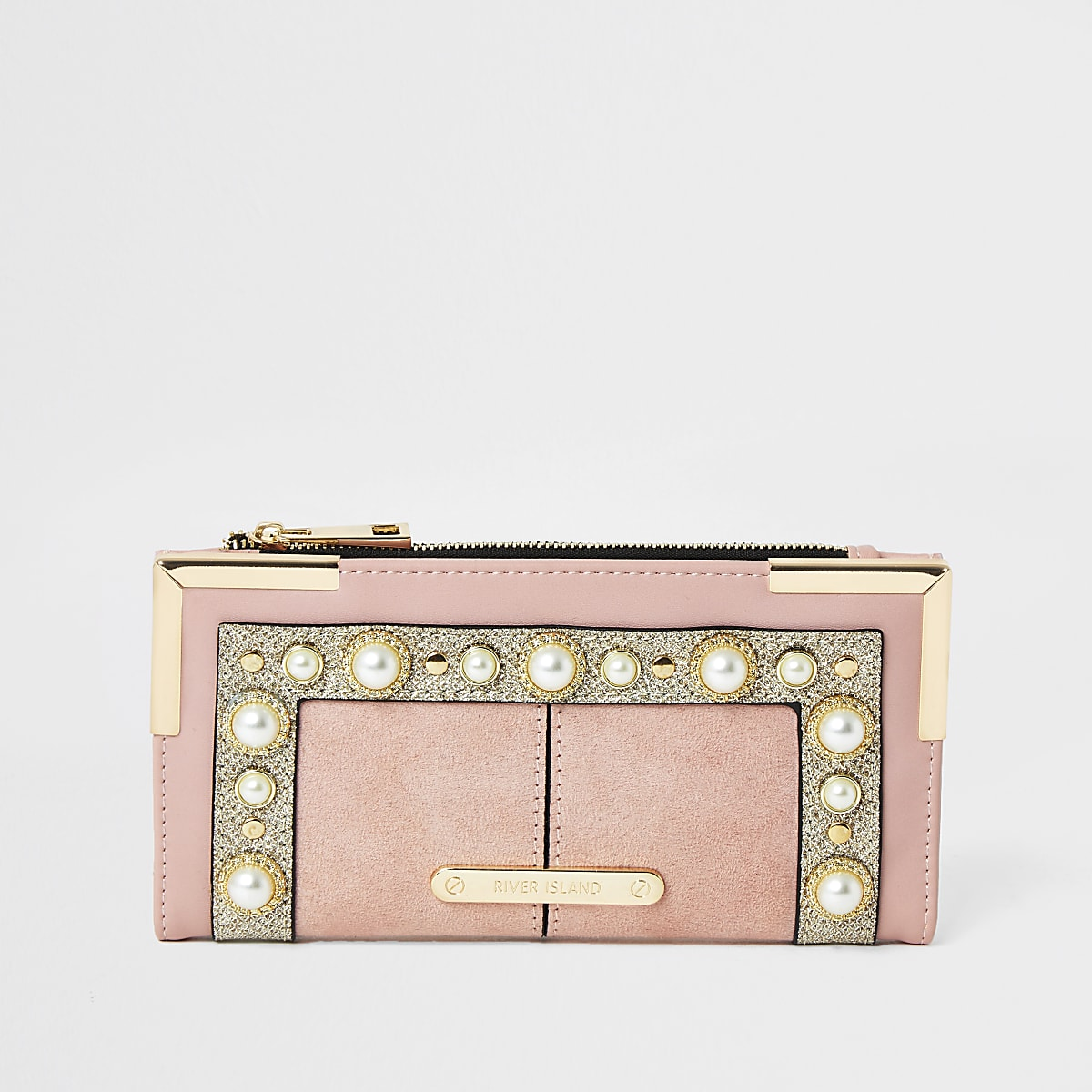 Roze uitvouwbare portemonnee met parels verfraaid