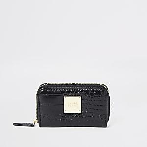 Zwarte kleine portemonnee met krokodillenprint en rits rondom