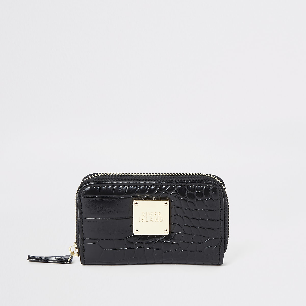Black croc mini zip around purse