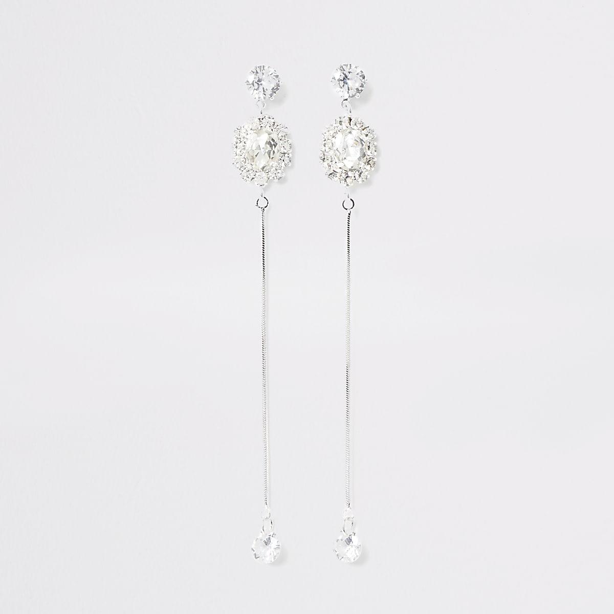 Silver colour diamante chain drop earrings