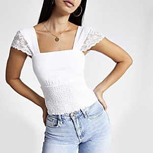 White lace shirred top