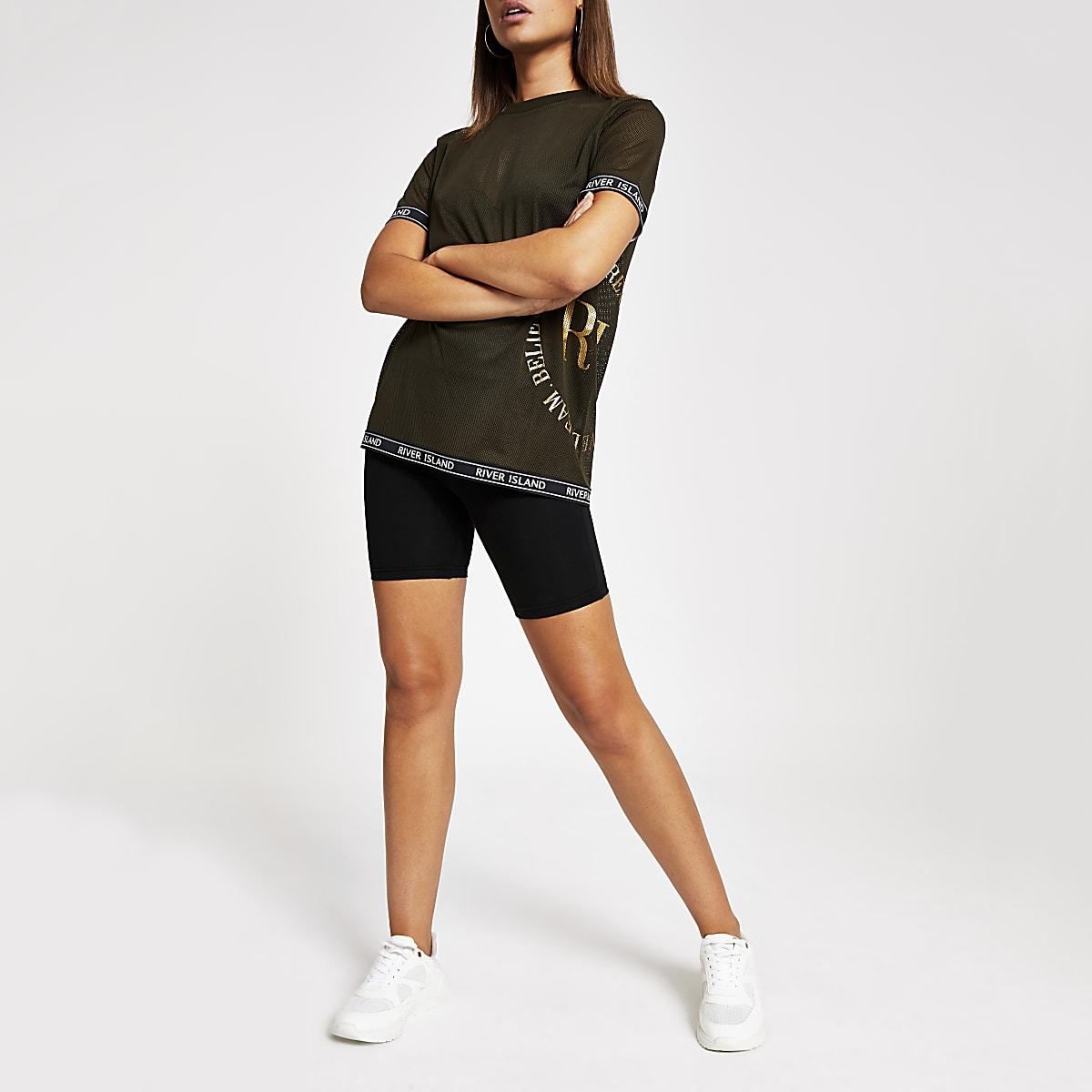 T-shirt en tulle kaki avec bande imprimée RI sur le bord