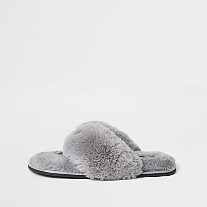 Grey diamante faux fur flip flop slippers