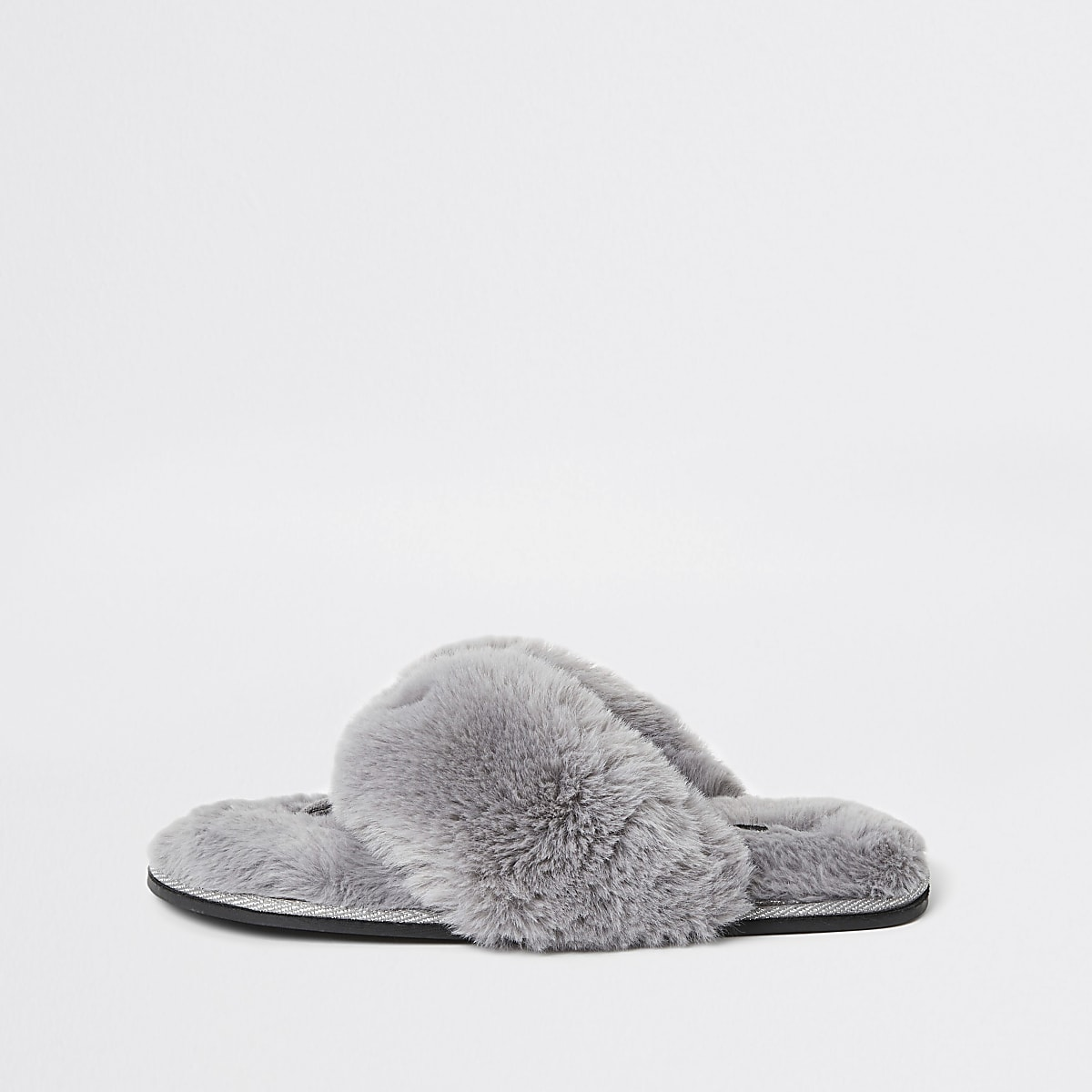 Grey diamante faux fur slippers