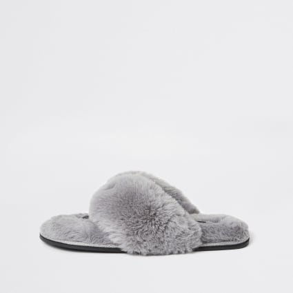 Grey diamante faux fur slippers