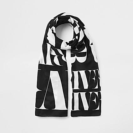 Black mono 'River' print scarf