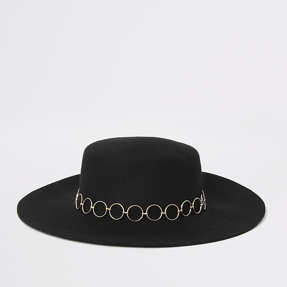 Black snaffle trim fedora hat