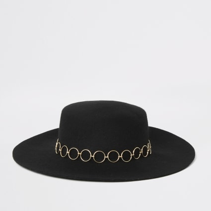 Black snaffle trim fedora hat