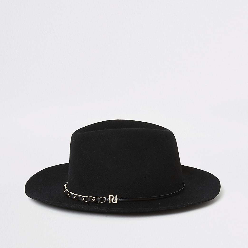 Chapeau fedora noir à galon en chaîne