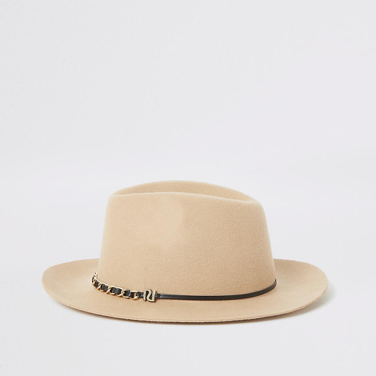 Chapeau fedora beige à galon en chaîne